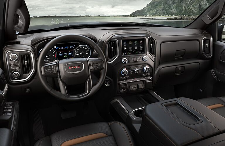 2020 GMC Sierra 1500 interior steering wheel and dashboard