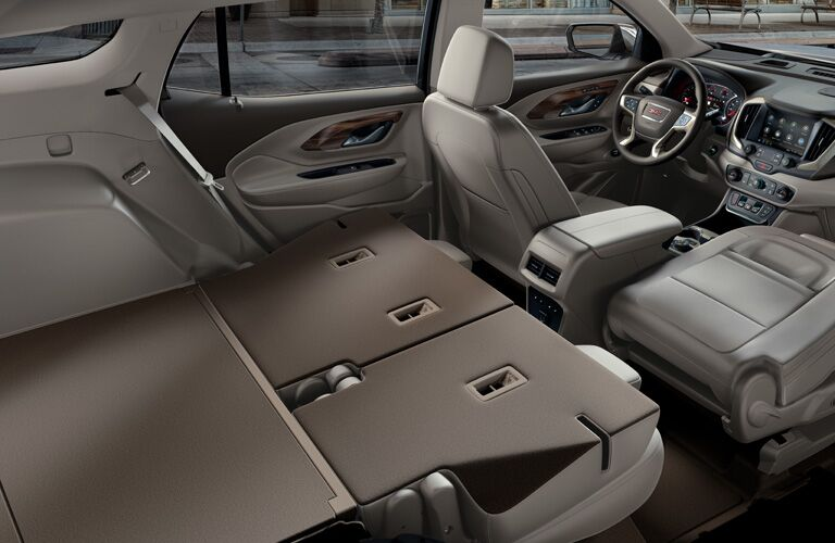 2020 GMC Terrain interior seating with rear seats folded down showing cargo capacity