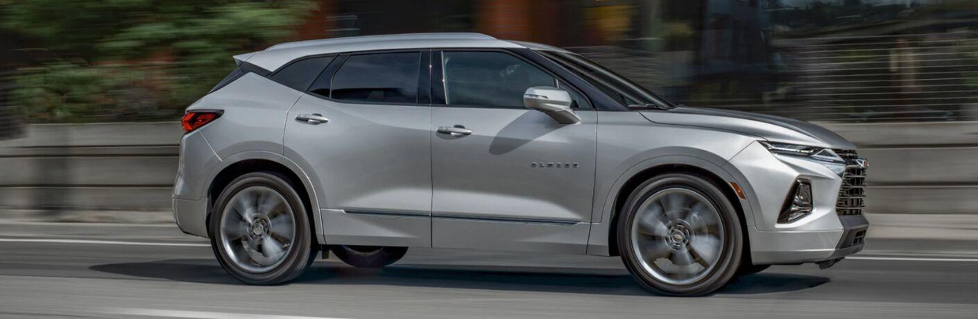 Side view of silver 2020 Chevrolet Blazer