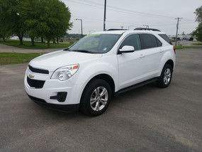 Front exterior view of a white Chevy Equinox