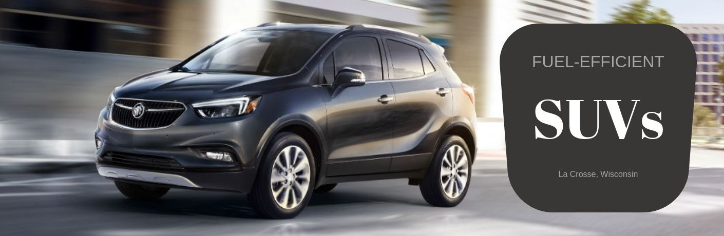 Fuel-Efficient SUVS La Crosse, Wisconsin, text next to a driver side exterior image of a gray 2019 Buick Encore