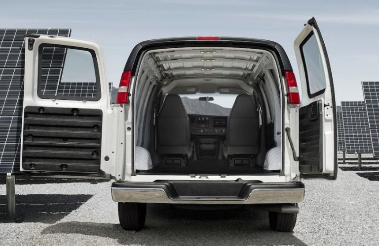 2019 GMC Savana Cargo Van with rear doors open