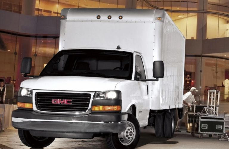 2019 GMC Savana Cutaway Van in use as a cargo truck