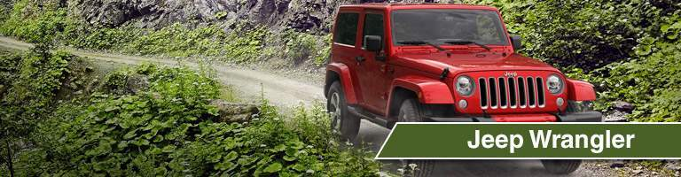 Front exterior image of a red Jeep Wrangler