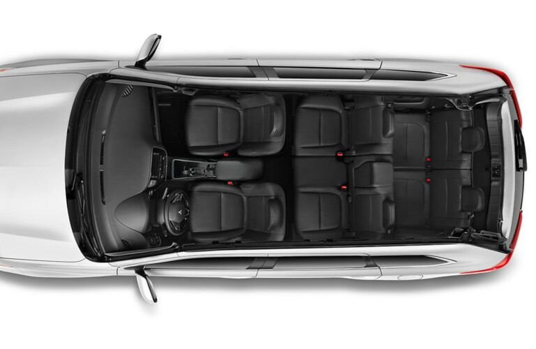 Aerial view of a 2019 Mitsubishi Outlander with all seats upright