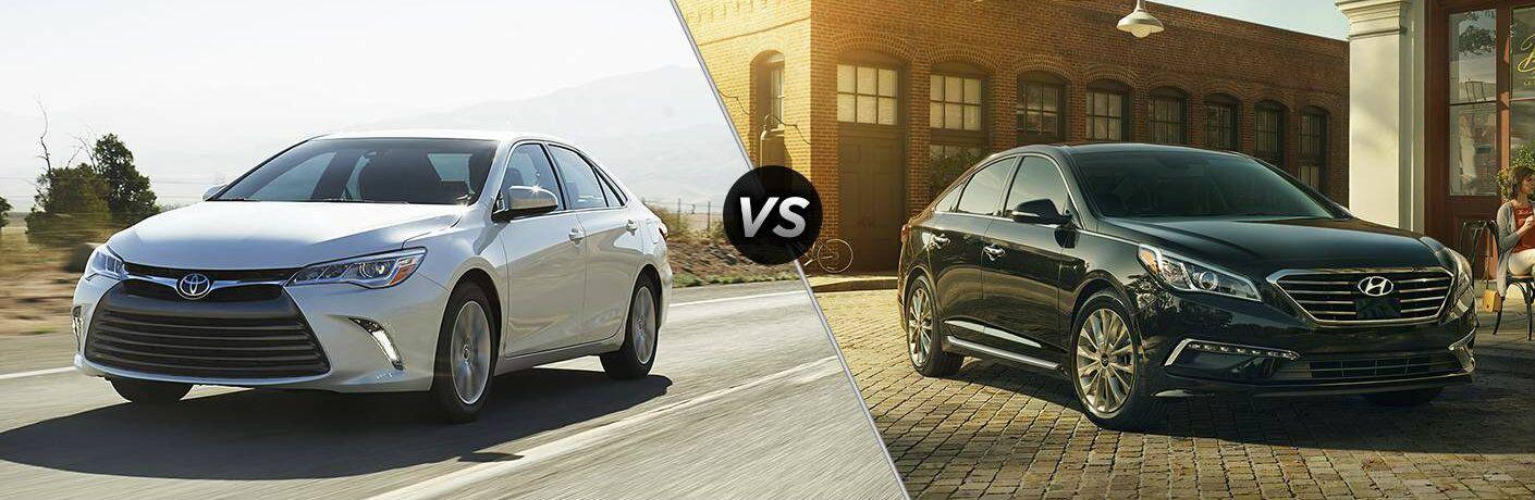 White 2016 Toyota Camry set against black 2016 Hyundai Sonata