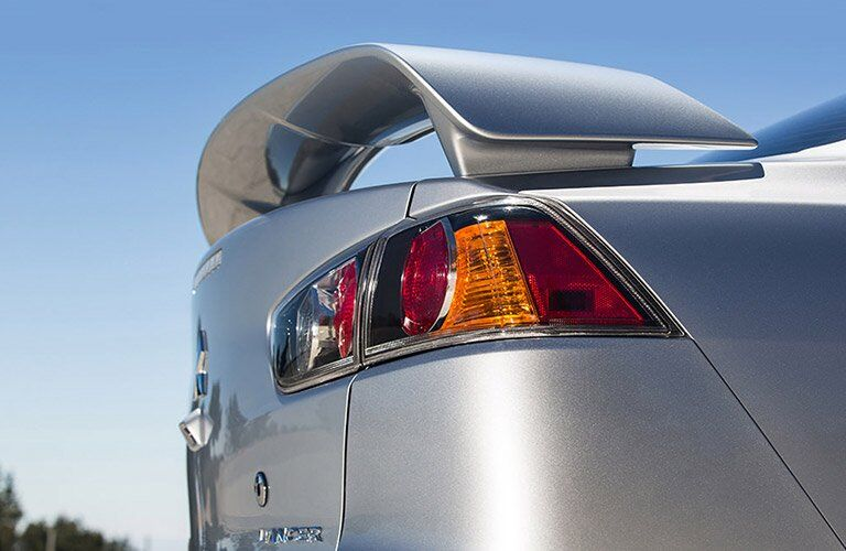 Rear spoiler on silver 2017 Mitsubishi Lancer
