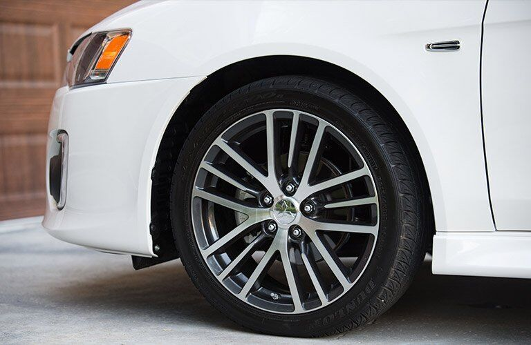 Wheel detail on white 2017 Mitsubishi Lancer