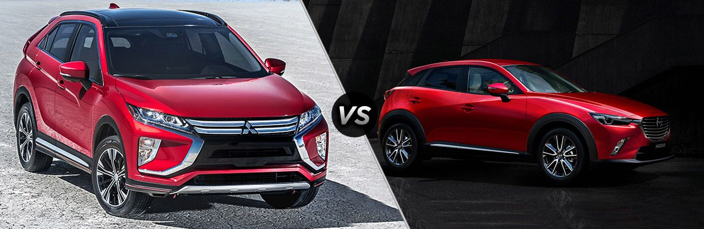 Red 2018 Mitsubishi Eclipse Cross set against red 2018 Mazda CX-3