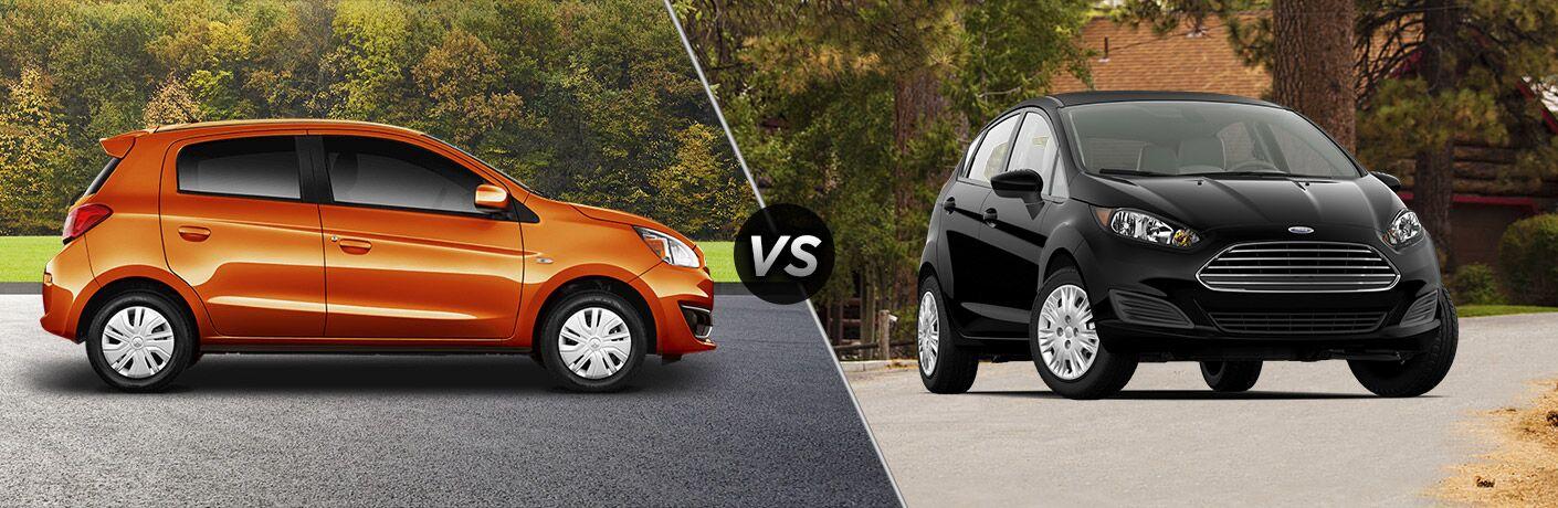 Orange 2018 Mitsubishi Mirage set against a black 2018 Ford Fiesta Hatchback