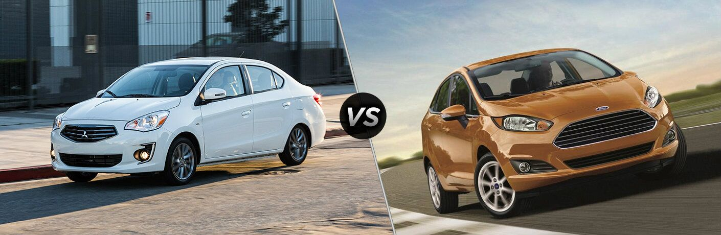 White 2018 Mitsubishi Mirage set against copper-colored 2018 Ford Fiesta Sedan