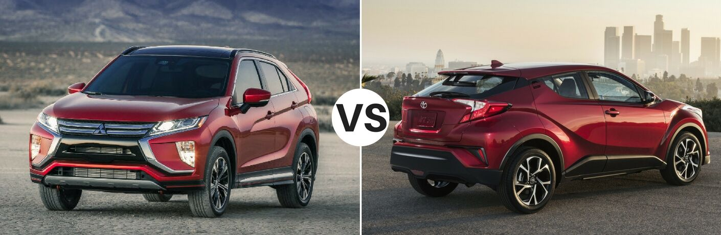 Red 2018 Mitsubishi Eclipse Cross set against red 2018 Toyota C-HR