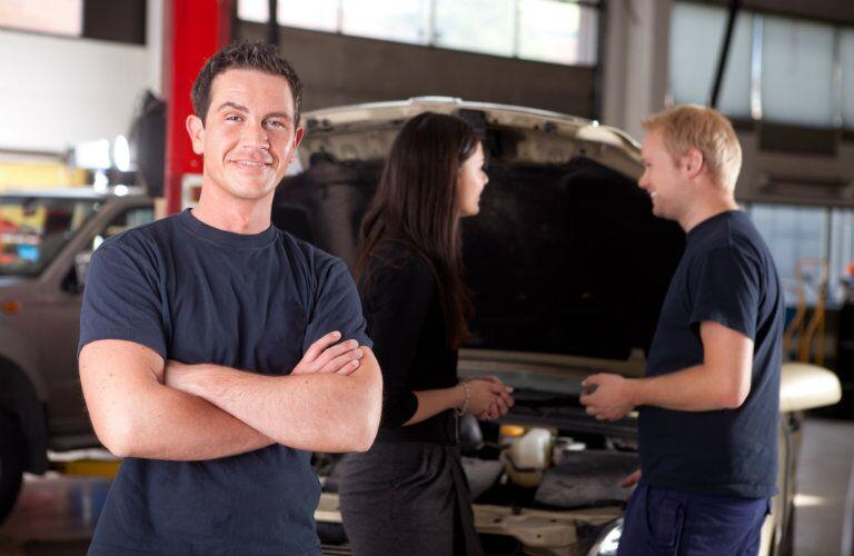 Mechanics in an auto shop