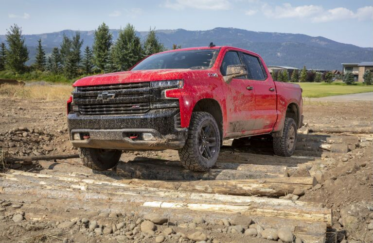 2019 Chevrolet Silverado 1500 covered and parked in mud
