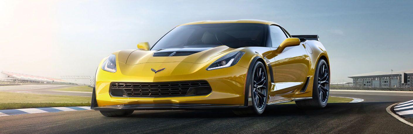 full view of yellow 2019 corvette