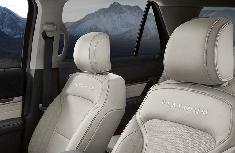 Closeup of seats in 2019 Ford Explorer Platinum