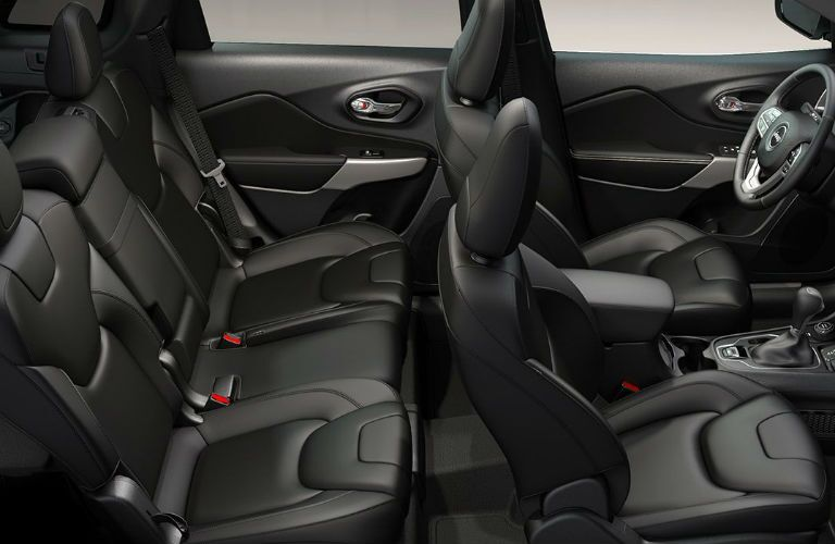 2019 Jeep Cherokee interior overhead shot of 2-row seating space and upholstery