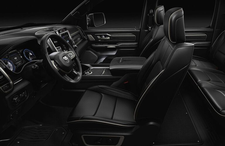2019 Ram 1500 interior side shot of seating rows and upholstery material