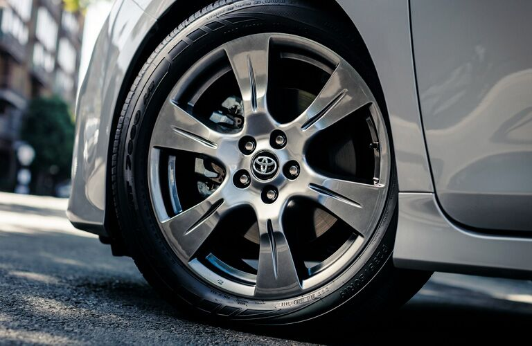 Closeup of wheel on 2019 Toyota Sienna