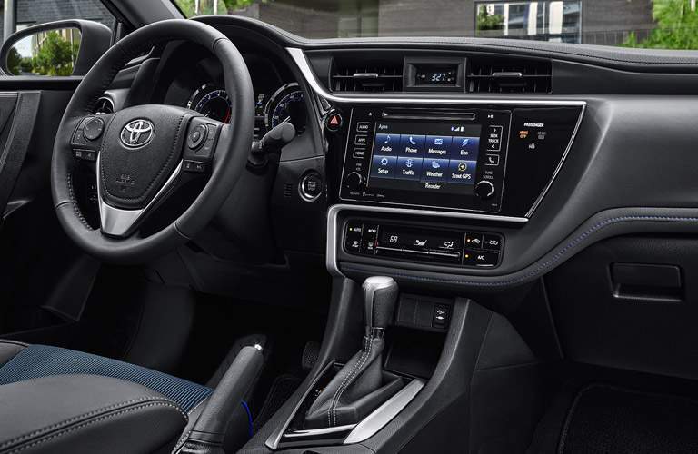 Front dash of 2017 Toyota Corolla with Entune infotainment system