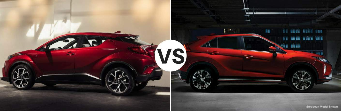 Red 2018 Toyota C-HR set against red 2018 Mitsubishi Eclipse Cross