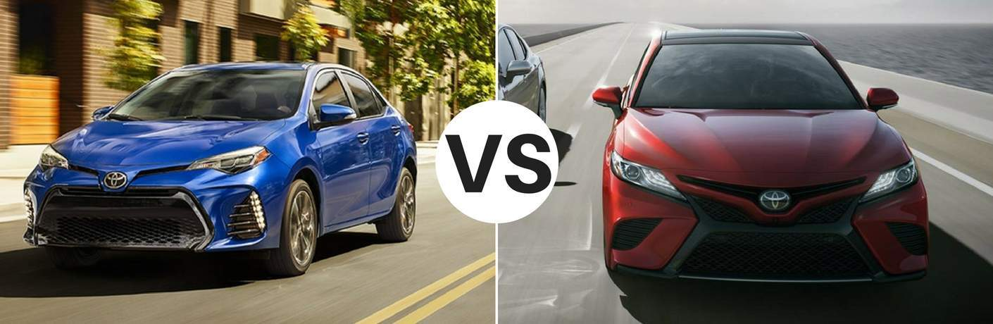 Picture of a blue 2018 Toyota Corolla against a red 2018 Toyota Camry