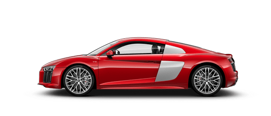 The Audi R8 Coupe and it's side view