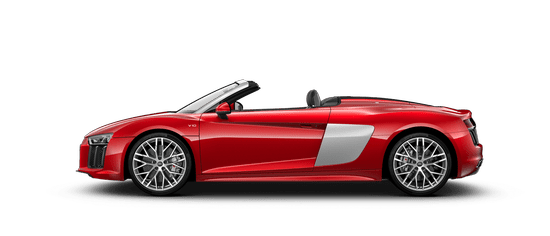 The Audi R8 Spyder and it's side view