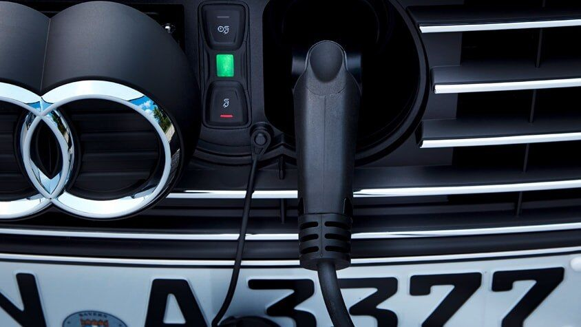 The 2018 Audi A3 Sportback e-tron charging port.