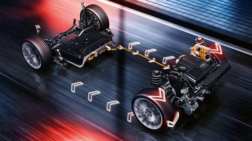 The 2018 Audi A3 Sportback e-tron frame with wheels