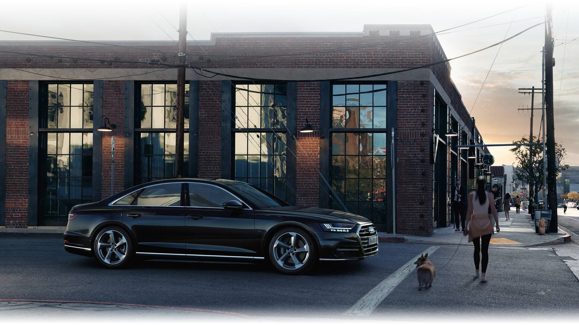 An aerial view of the New 2019 Audi A8 L, available in Windsor Ontario