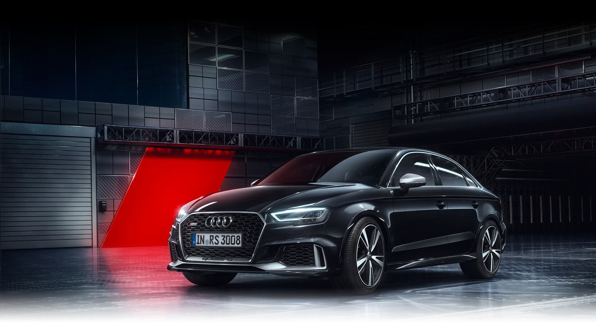 A sideways view of the New 2019 Audi RS 3 Sedan available in Windsor Ontario