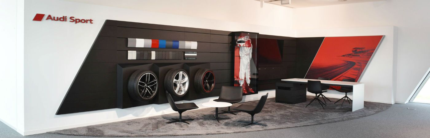 An office that showcases the Audi Sport logo