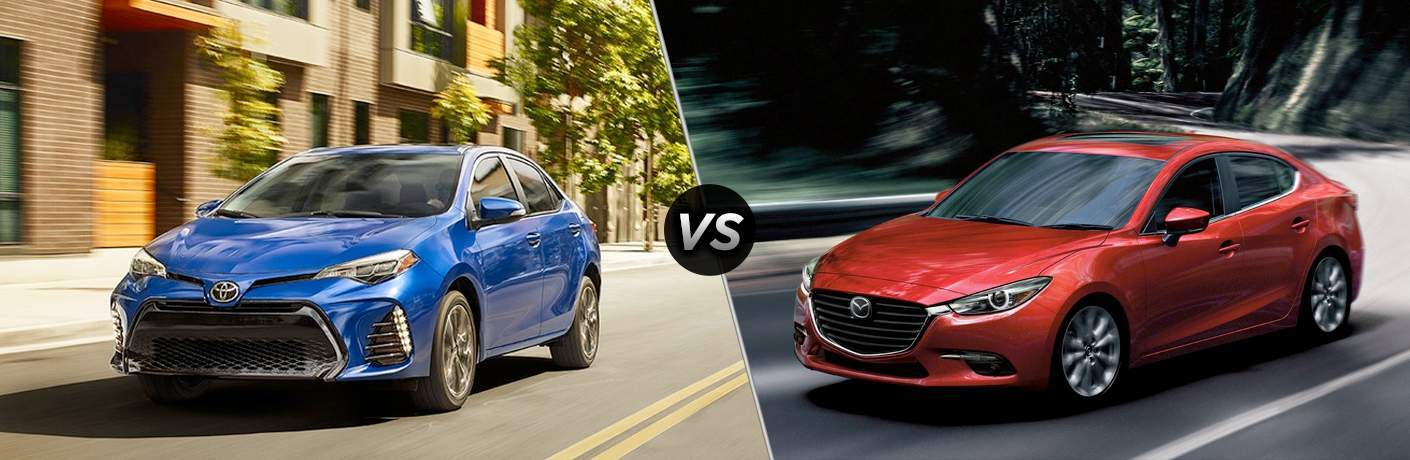 A side-by-side comparison of the 2018 Toyota Corolla vs. 2018 Mazda3