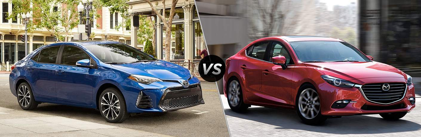 A 2018 Toyota Corolla and 2018 Mazda3 in a side-by-side comparison showing their right side of both cars