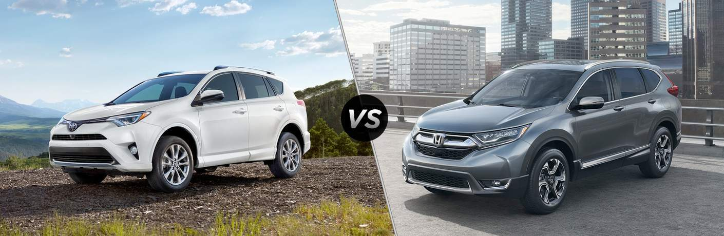 A side-by-side comparison of the 2018 Toyota RAV4 vs 2018 Honda CR-V showing the front left quarter of both vehicles