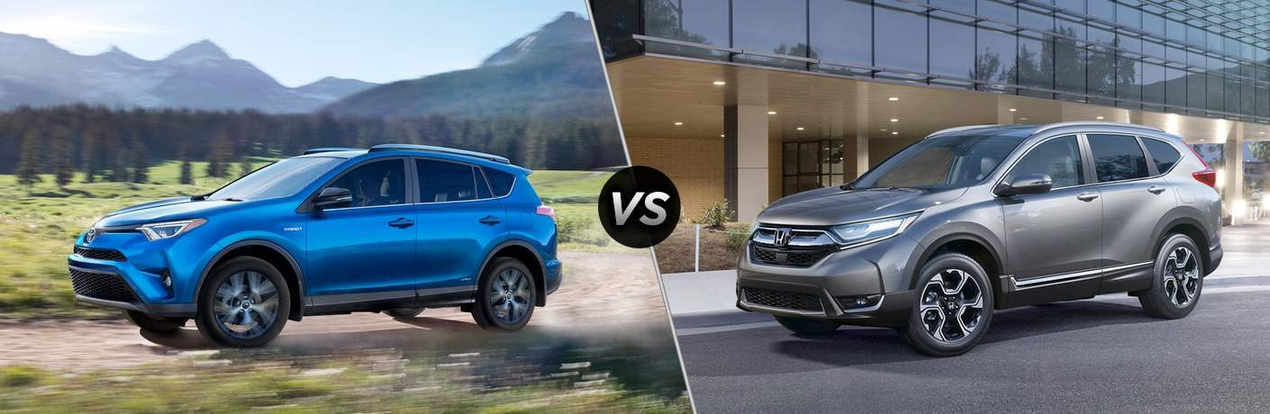 A side-by-side comparison of the 2018 RAV4 vs. 2018 CR-V both in left profile orientations