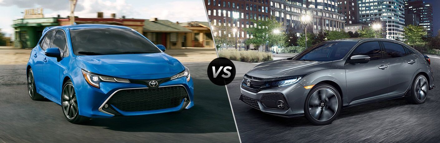 A side-by-side comparison of the 2019 Toyota Corolla Hatchback vs. 2019 Honda Civic Hatchback.
