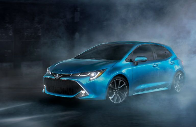 A front left quarter photo of the 2019 Toyota Corolla Hatchback.