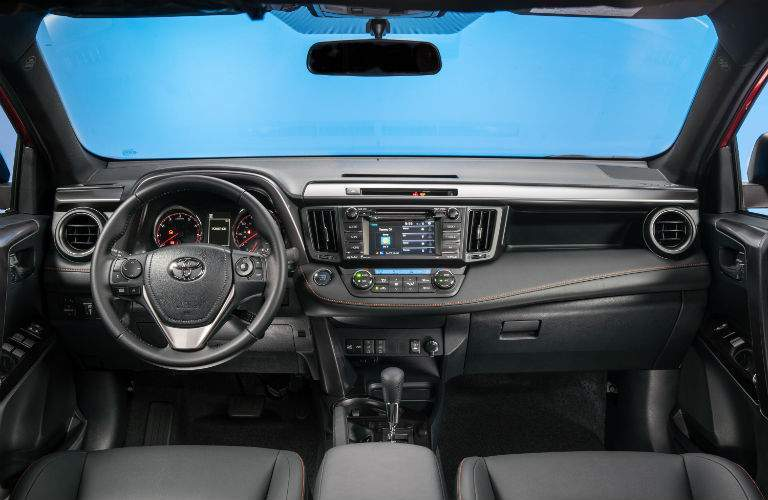 The front seat area of the 2018 RAV4 showing all of the technology available