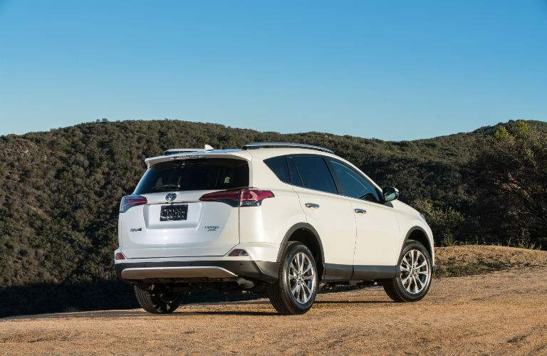 Rear quarter view of the 2018 RAV4 in a desert environment