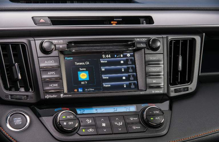 Close up of the infotainment system of the 2018 RAV4