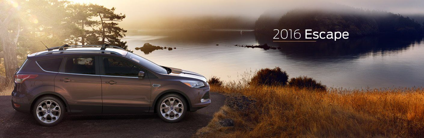 Gray 2016 Ford Escape Overlooking a Lake with White Text 2016 Escape