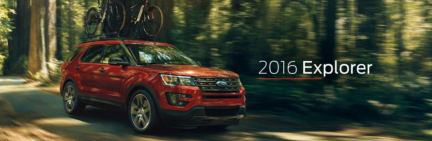 Red 2016 Ford Explorer on Trail with White 2016 Explorer Text