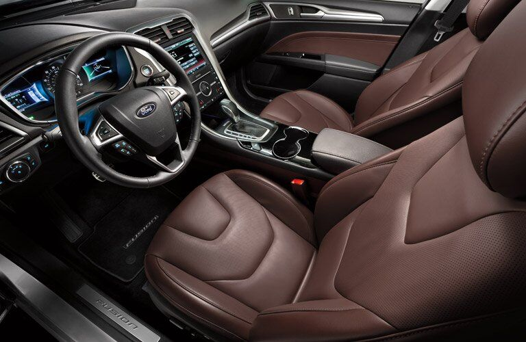 Overhead View of 2016 Ford Fusion Front Seat Interior, Steering Wheel and Touchscreen Display