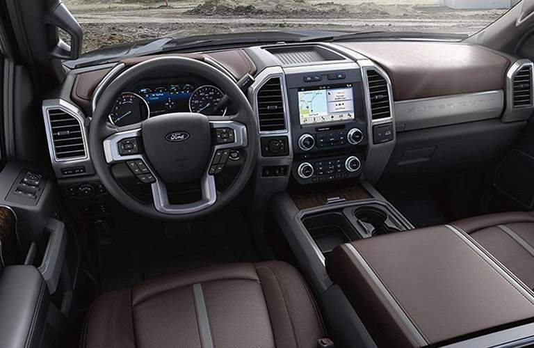 2018 Ford F-250 Super Duty brown leather interior front seats