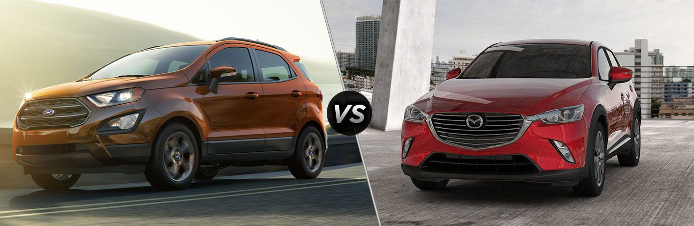 Orange 2018 Ford EcoSport on the Highway vs Red 2018 Mazda CX-3 in a Parking Structure