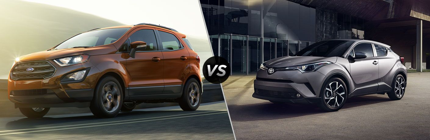 Orange 2018 Ford EcoSport on Highway vs Silver 2018 Toyota C-HR in an Alley
