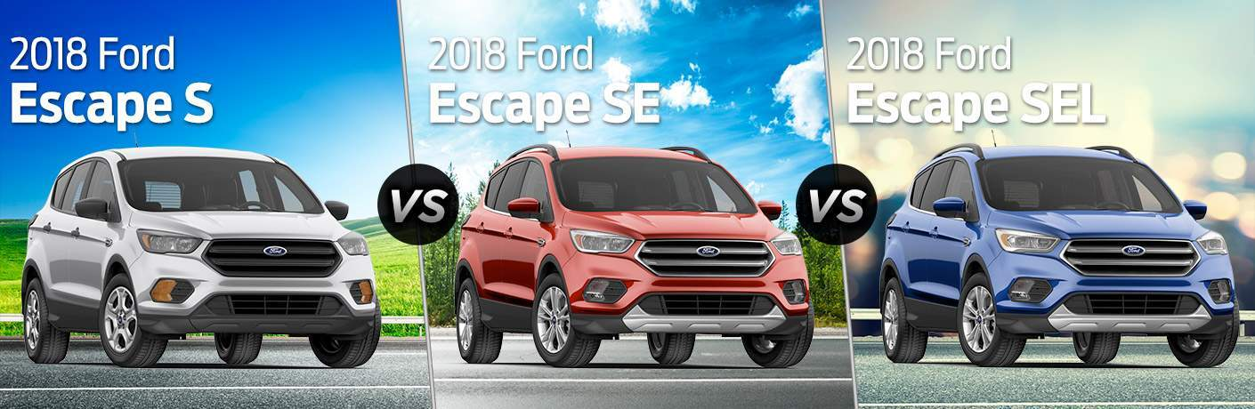 Silver 2018 Ford Escape S with White 2018 Ford Escape S Text vs Red 2018 Ford Escape SE with White 2018 Ford Escape SE Text vs Blue 2018 Ford Escape SEL with White 2018 Ford Escape SEL Text with Blue Sky Backgrounds
