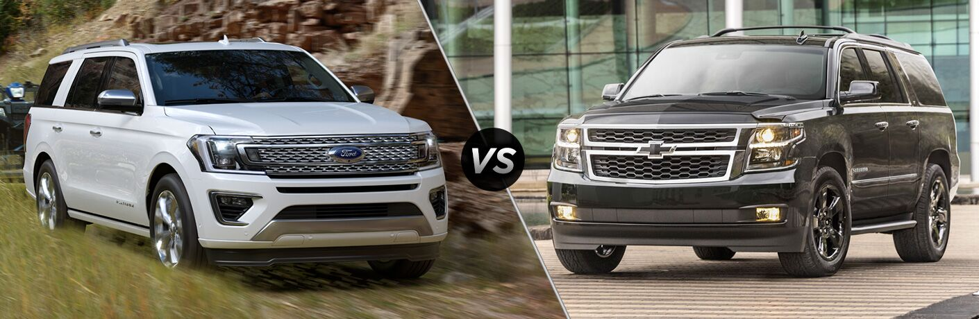 White 2018 Ford Expedition on Trail vs Black 2018 Chevy Suburban in a Parking Lot